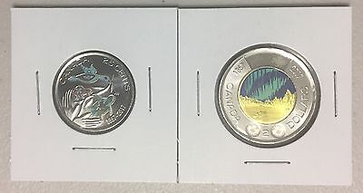CANADA 2017 New Quarter/Toonie GID Kit 150th of CANADA in COLOR (UNC from roll)