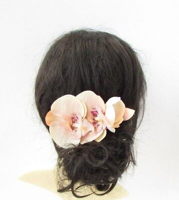 Rose Gold Blush Peach Pink Orchid Flower Hair Comb Floral Fascinator Races 5315