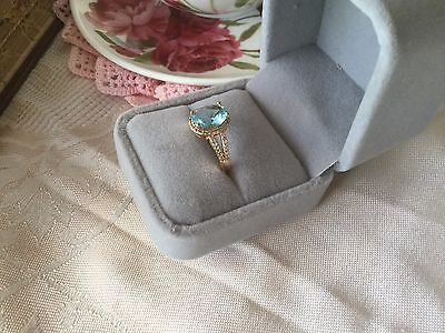 Antique Vintage Rose Gold Ring Aquamarine and Sapphire White stones size 9 or S