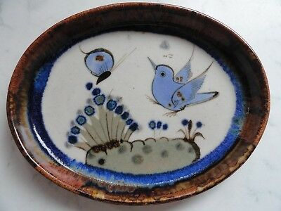 Studio Pottery Shallow Dish By Ken Edwards - Bird & Butterfly - Perfect
