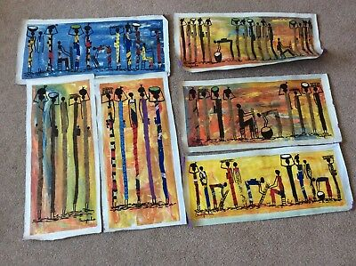 Original Congolese Art Masai Tribe Paintings On Canvas x 6