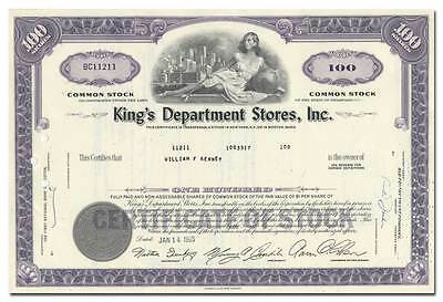 King's Department Stores, Inc. Stock Certificate