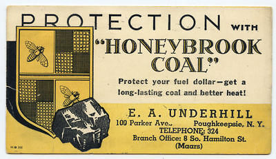 Old advertising blotter Honeybrook Coal, Underhill, Poughkeepsie, NY