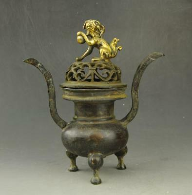 China old copper gilding  three foot incense burner Rich dog lid hand-carved