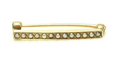 Antique 14k Yellow Gold & Seed Pearl Small Bar Pin 1920s Art Nouveau PERFECT