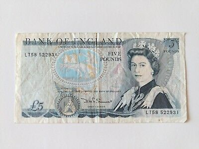 England Great Britain  5 Pound Series D Sommerset Bank of England Note