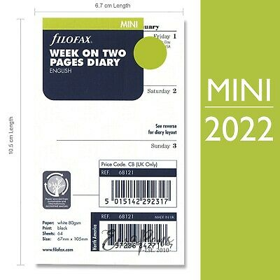 Filofax Mini 2019 Week On Two Pages Diary Insert Refill English (19-68121)
