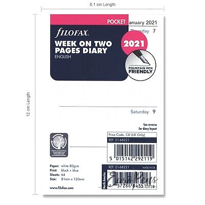 Filofax Pocket size 2019 Week On Two Pages (to view) Diary Refill Insert 1968221