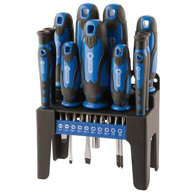 Draper 21 Piece Screwdriver & Bit Set With Storage Stand Blue 29865
