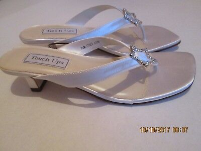 Woman's White Satin Thong Sandals (Saturn) Size 7.5M By Touch Ups Nwob