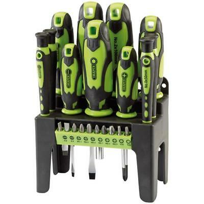 Draper 21 Piece Screwdriver & Bit Set With Storage Stand Green 29876