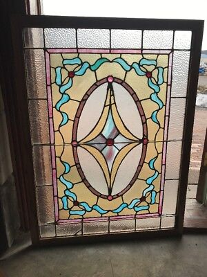 Sg 1934 Antique Stained Glass Landing Window 30.75 X 41.25