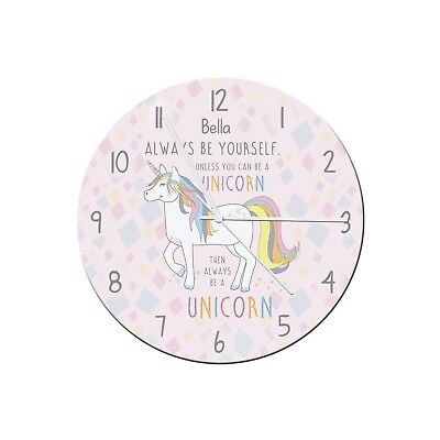 Personalised Childrens Always Be A Unicorn Clock Bedroom Birthday Gift