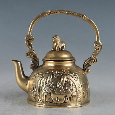 Chinese Brass The old Chessing Under The Tree  Teapot HT0049