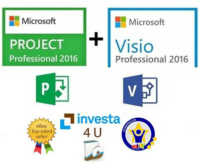 Visio & Project Professional 2016 Pack - W/scrap, Genuine, Lifetime Key 100%