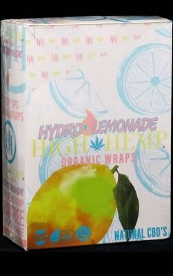 High Hemp Hydro Lemonade Organic Wraps Box of 25 Pouches (2 Per Pouch) 50 Wraps
