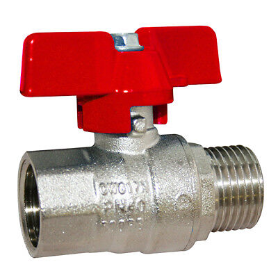BRASS BSPP MALE x FEMALE BUTTERFLY HANDLE BALL VALVE - WRAS APPROVED