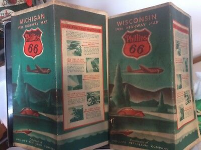 2 1936 Phillips 66 Wisconsin & Michigan UP road maps TWO, Upper penninsula