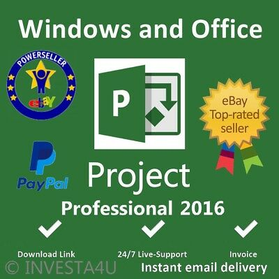 Project Pro Professional 2016 - W/scrap, Genuine, Lifetime Key 100% ORIGINAL