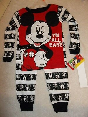 Mickey Mouse Toddler Boy 2 pc Pajama Set size 4T Sleepwear Tight Fit New