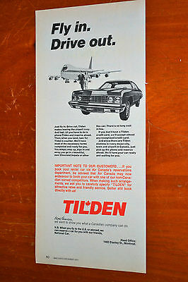 1973 Chevy Impala & Air Canada Boeing 747 For  Tilden Rent A Car Canadian Ad -