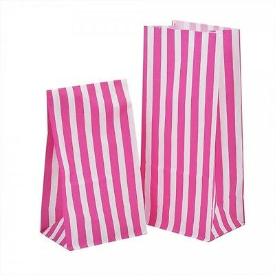 Pink PICK 'n' MIX Candy Stripe Gift Wedding Paper Party Bags Sweets 11cm x 25cm