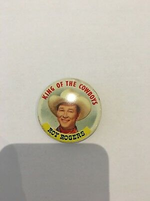 Vintage 1953 Roy Rogers KING OF THE COWBOYS Posts Grape Nuts Flakes Button Pin