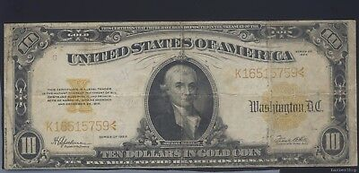 Series 1922 large $10 gold certificate. F-VF. No holes, tears, ink. K16515759