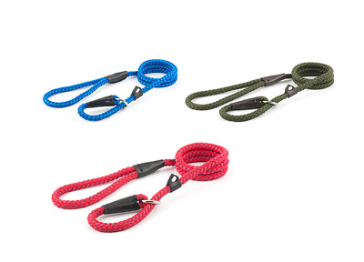 Ancol Nylon Rope Slip Dog Lead Chose from Blue, Green or Red