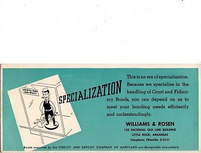 Specialization advertising Ink Blotter for Williams & Rosen, Little Rock, AR abo