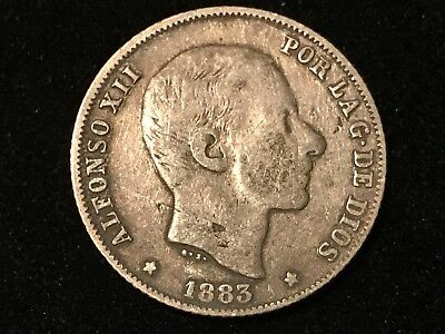 T2: World Coin Philippines / Spain 1883 Silver 20 Centimos. Free S/H in U.S.