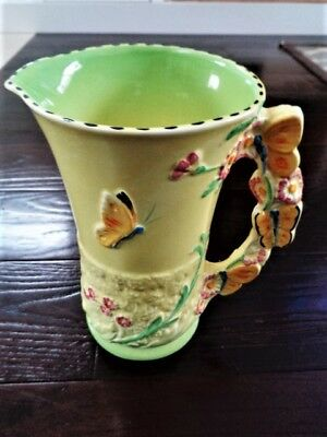 Vintage  Art Deco Burleigh Butterfly Flowers Jug Large Pitcher England