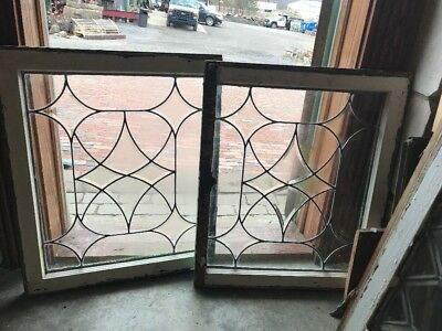 SG 1947 match Pair antique four point beveled Window 23.25 x 28.5