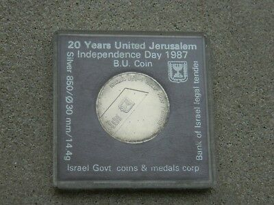 1987 Silver New Sheqel  20 Yrs United Jerusalem Independence Day Commemorative