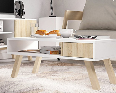 table basse scandinave blanc vintage petite de salon meuble maison design eur 95 48. Black Bedroom Furniture Sets. Home Design Ideas