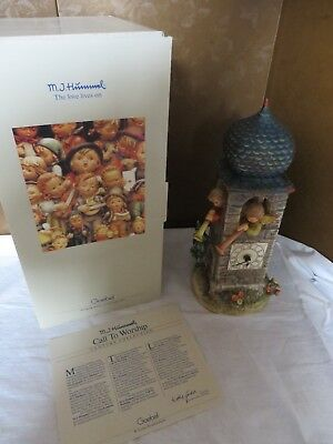 "HUMMEL #441"" Call To Worship"" Clock Tower with Chimes & Certificate - Excellent"