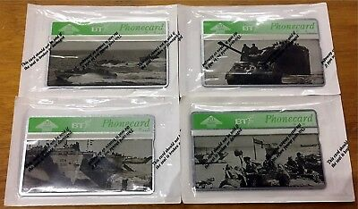 Very Rare Set Of 4 British Phone Cards Wwii Theme Ships Tank Sealed Unused