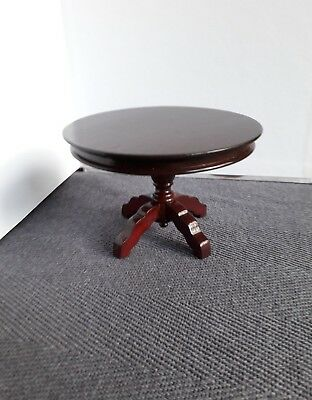 Dolls House Furniture: Dark Wooden Circular Table : 12th scale