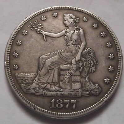 1877 Trade Dollar with outstanding XF+ details !! RARE TYPE COIN !