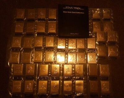 48 Rare 22ct Gold Plated Star Trek Cards Including Folder Great Christmas Gift!