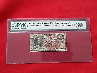 FR-1267 Fourth Issue Fractional Currency 15c Fifteen Cents *PMG 30 Very Fine*