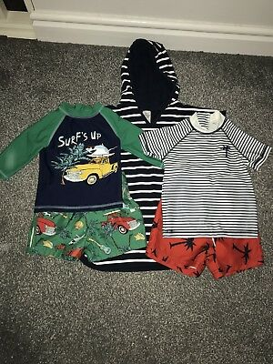 Baby Boys Swimwear And Poncho 12-18 Months