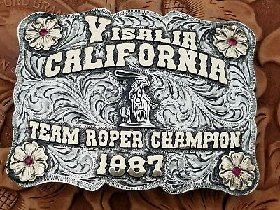 1987 VISALIA CALIFORNIA ~TEAM ROPING CHAMP Trophy Rodeo Buckle Hand Engraved 383