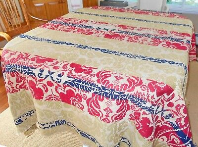 Antique Coverlet Cutter Woven Red Blue Green Crafting Repurposing Display As Is
