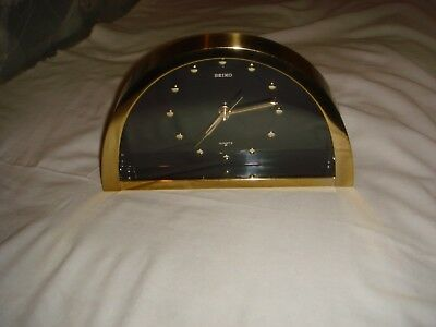Vintage Seiko Brass and Smoked Glass Mantle Clock - Model QQZ137G - IN VGC