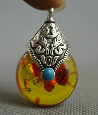 Collectable Handwork Decor Miao Silver Carve Totem Inlay Leaf Amber Rare Pendant
