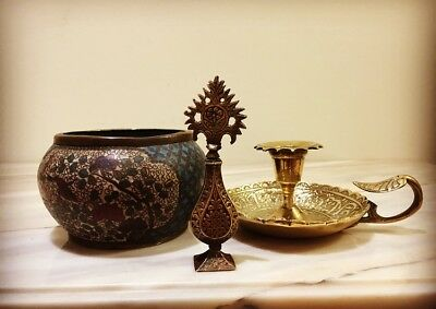 Antique Prrsian Damascus Islamic Enamelled Bowl And Kohl And Candlestick