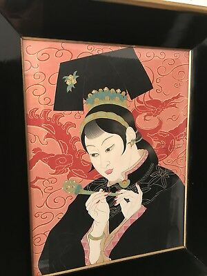 Rare Mid Century French PAUL JACOULET Japanese Wood Block Jade Lady - Eames Era