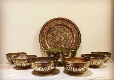 Antique Persian Qajar Isfahan Brass Plate And Bowl Set
