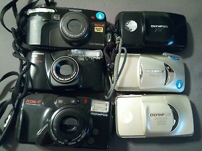 Olympus (6) Camera Lot Stylus,superzoom,& Infinity Tested/all Working/parts Used